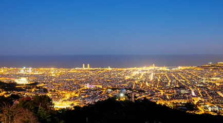 View over Barcelona at night seen from Mount Tibidabo