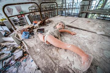 children beds in Cheburashka kindergarten in Pripyat ghost town