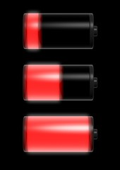 Collection of battery charge level indicators isolated on black