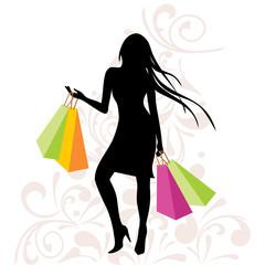 Vector shopping girl