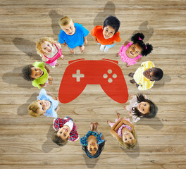 Multiethnic Group Children Play Game Controller Concept