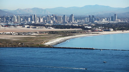 San Diego skyline with the Pacific Ocean in the foreground