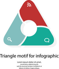 Infographic with triangle motif on white