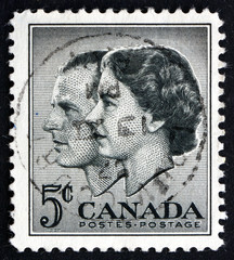 Postage stamp Canada 1957 Queen Elizabeth II and Prince Philip