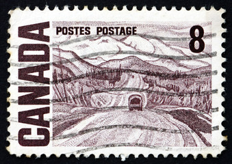 Postage stamp Canada 1967 Alaska Highway, by A. Y. Jackson
