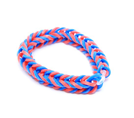 Colorful loom bracelet rubber bands isolated on white background