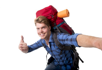 backpacker tourist taking selfie photo carrying travel backpack