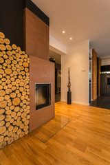 Fireplace with firewood