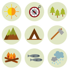 Set of camping symbols and icons vector