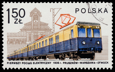 Stamp printed in POLAND shows Electric railcar