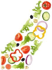 Fliegende Zutaten für Salat mit Tomate, Gurke, Zwiebel und Papr