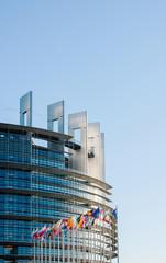 European Parliament facade with all EU European Union Flags