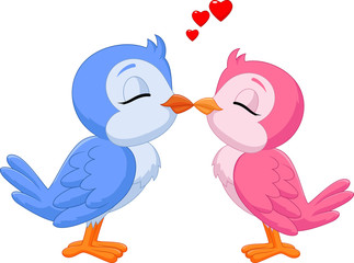 Illustration of two love birds kissing