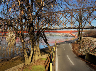 Empty bicycle road along the river