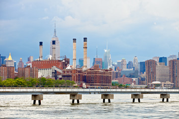 New York City USA, industrial factory plant in the city