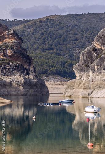 Fotobehang Madrid Landscape reservoir. Spain