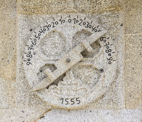 nautical astrolabe carved in the rock