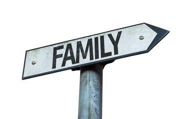 Family sign isolated on white background