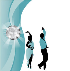 vector dancing couple on the background of the ball