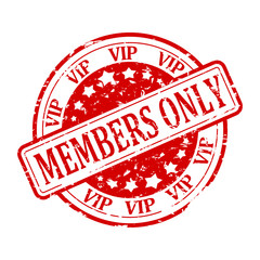 Damaged round red stamp with inscription - Members Only - vip