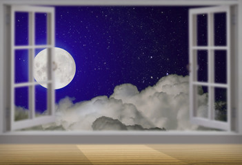 Nightly sky with large moon and the window