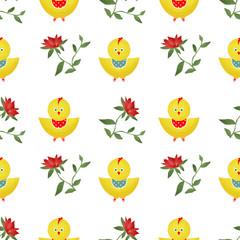Seamless kids pattern with chicken texture background