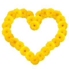 Yellow flowery heart on white