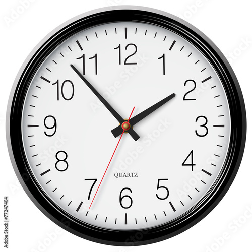 Vector classic black round wall clock - 77247404