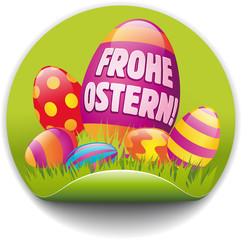 Button frohe Ostern mit bunten Eiern