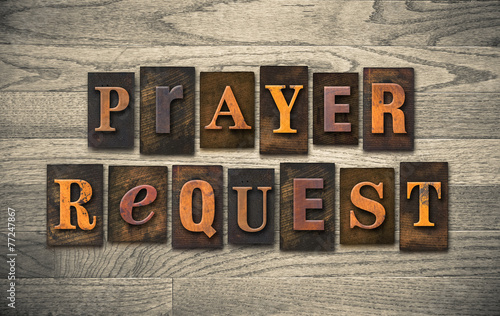 canvas print picture Prayer Request Wooden Letterpress Concept