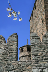 battlements and tower in Fenis castle