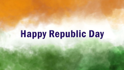 happy republic day, indian tricolors smoke animation