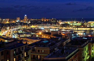 overview of Genova at evening, Italy