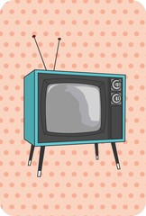 TV antiga, retro, vintage, azul