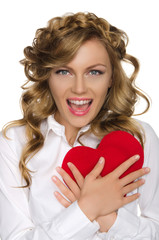 Beautiful woman pushes heart to himself