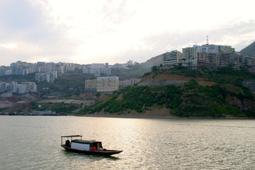 city yangtze river with boat