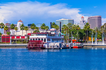 Long Beach harbor, skyline, and paddlewheel boat, CA (P)