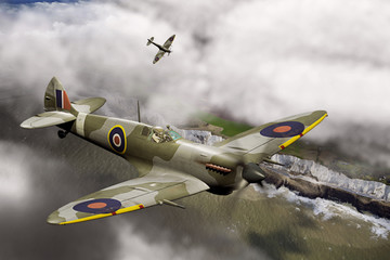 Two Spitfires over Dover