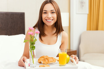 Good morning starts from breakfast in bed.