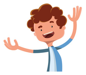 Happy boy spreading arms vector illustration cartoon character