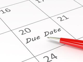 Due date words  on a calendar