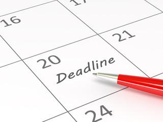 Deadline words  on a calendar
