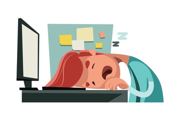 Sleeping at office on computer illustration cartoon character