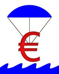 Euro Symbol hängt am Fallschirm und fällt ins Wasser
