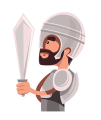 Ancient warrior in full armour illustration cartoon character
