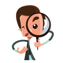 Man holding magnifying glass illustration cartoon character