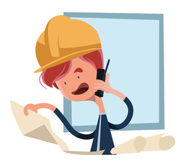 Construction worker looking at blueprints cartoon character