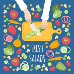 Cocinero cortando verduras para la ensalada