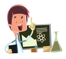 Scientist teaching the science illustration cartoon character