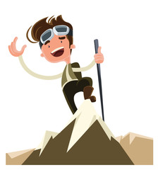 Conquer the mountain peak top illustration cartoon character